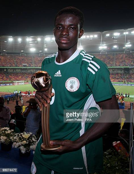 Fortune Chukwudi of Nigeria pose with the Bronze Ball Trophy after the FIFA U17 World Cup Final between Switzerland and Nigeria at the Abuja National...