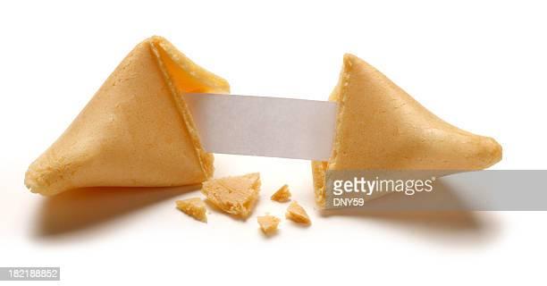 Fortune Cookie Broken Open Revealing Blank Fortune