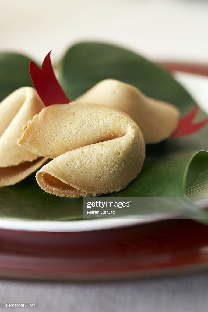 Fortune cookies on plate, close-up : Stockfoto