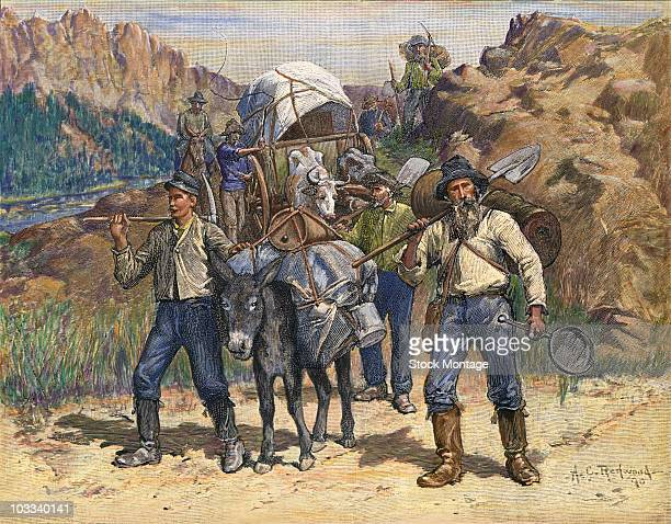 Fortune seekers traveling to the California goldfields to find new diggings during the California Gold Rush era, 1849.