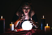 Fortune teller and crystal sphere