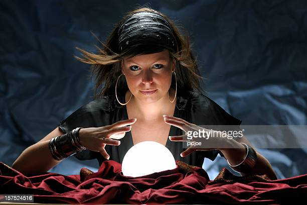 fortune teller with glowing crystal ball XXXL