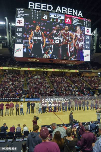 Forty eight former Aggie players are honored at halftime of the basketball game between the South Carolina Gamecocks and Texas AM Aggies on February...