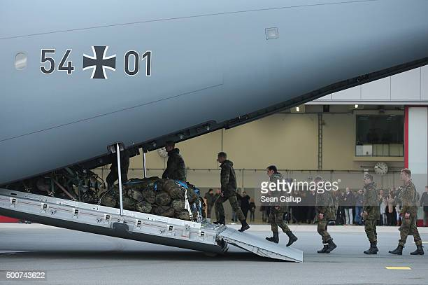 Forty members of the Bundeswehr the German armed forces board a Luftwaffe A400M transport plane destined for Incirlik airbase in Turkey as part of...