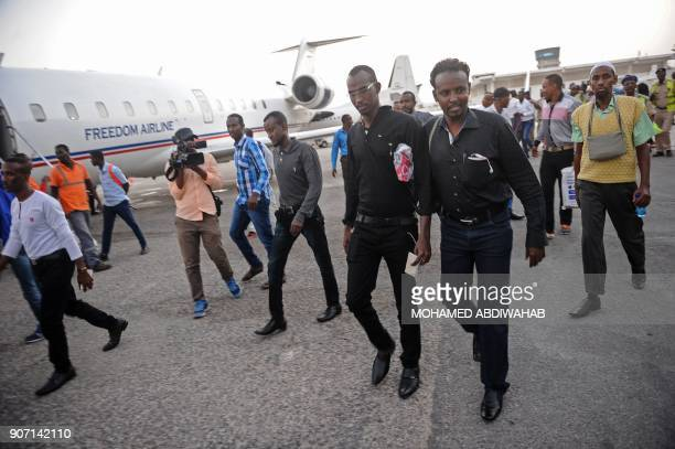 Forty one Somali men former Somali pirates who served out a sentence of seven years' imprisonment in Mumbai India arrive at Aden Adde International...