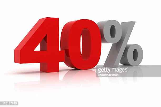 forty percent - number 40 stock photos and pictures