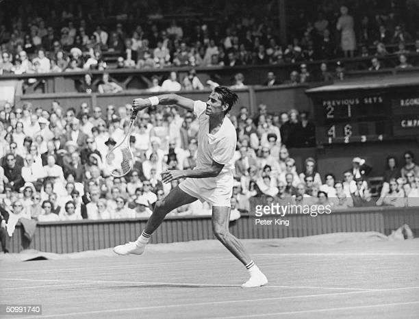 Fortyone year old American tennis player Pancho Gonzales during his marathon first round match against Charlie Pasarell at the Wimbledon Lawn Tennis...
