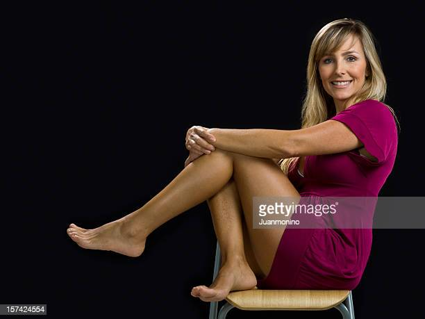forty-something attractive female - womans bare feet stock photos and pictures