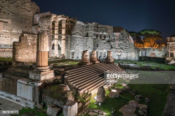 Forum of Augustus at night in Rome, Italy