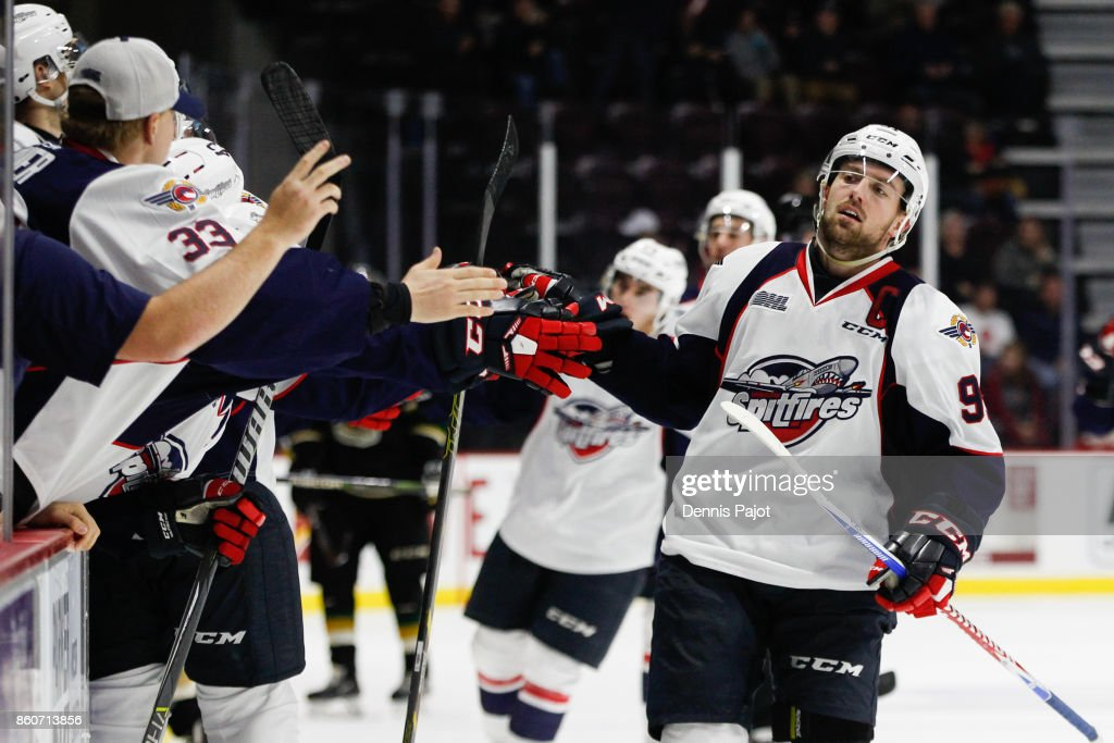 Forward Aaron Luchuk #91 of the Windsor Spitfires celebrates his game winning third period goal against the London Knights on October 12, 2017 at the WFCU Centre in Windsor, Ontario, Canada.
