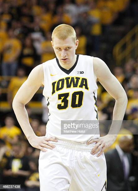 Forward Aaron White of the Iowa Hawkeyes during a break in the action in the second half of the matchup against of the Northwestern Wildcats on March...