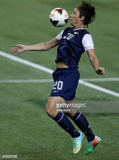 Forward Abby Wambach of the United States Women's National Soccer Team controls the ball with a chest trap during the game against Russia at the...