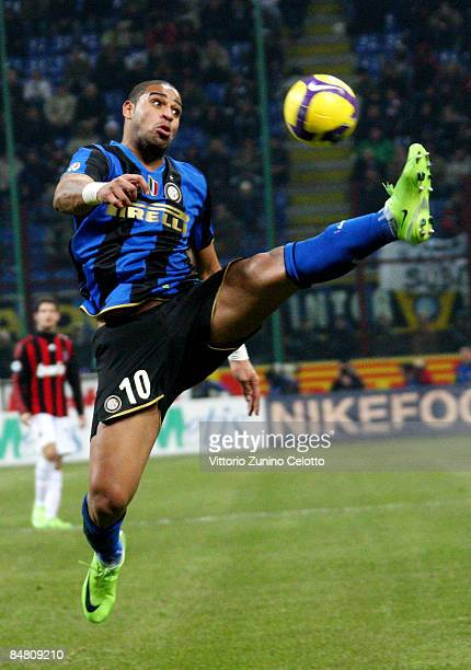 Forward Adriano of FC Inter in action during FC Inter Milan v AC Milan Serie A match on February 15 2009 in Milan Italy