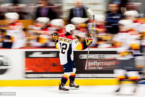 Forward Alex DeBrincat of the Erie Otters celebrates after a goal against the Windsor Spitfires on February 6 2016 at the WFCU Centre in Windsor...
