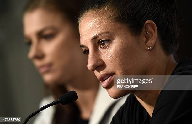 USA forward Alex Morgan and midfielder Carli Lloyd give a press conference in Vancouver on July 3 two days ahead of 2015 FIFA Women's World Cup final...