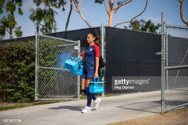 Forward Alex Morgan arrives at the US Women's National Team practice before their friendly match against Chile at StubHub Center on August 28 2018 in...