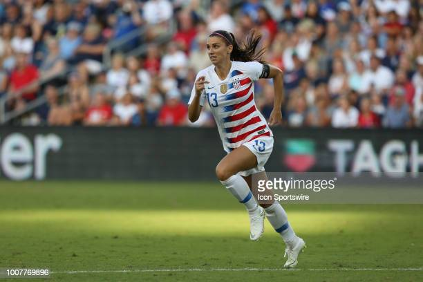 Forward Alex Morgan in the second half of a women's soccer match between Japan and USA in the 2018 Tournament of Nations on July 26 2018 at...