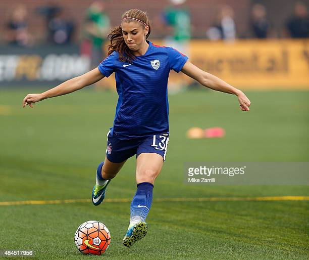 Forward Alex Morgan of the United States warms up before the friendly match against Costa Rica at Finley Stadium on August 19 2015 in Chattanooga...