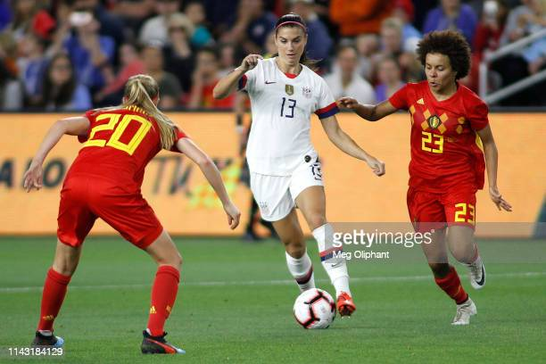 Forward Alex Morgan of the United States Women's National Team handles the ball during the game against Belgium at Banc of California Stadium on...