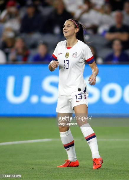 Forward Alex Morgan of the United States Women's National Team looks on during the game against Belgium at Banc of California Stadium on April 07...