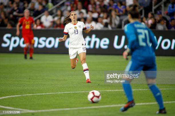 Forward Alex Morgan of the United States Women's National Team runs up the field in the game against Belgium held at Banc of California Stadium on...