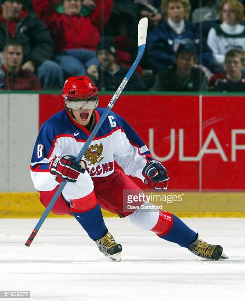 Forward Alexander Ovechkin of Russia celebrates his goal against Team USA during the semifinal game of the World Junior Hockey Championship...