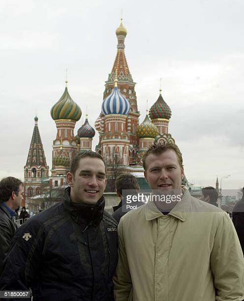 Forward Alexandre Daigle and goalie Marty Brodeur of the Primus Worldstars pose in Red Square on December 11 2004 Moscow Russia