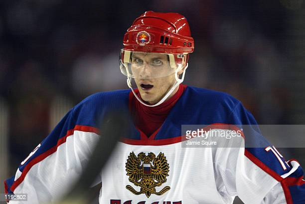 Forward Alexei Yashin of Russia looks on against the USA in the men's ice hockey semifinal during the Salt Lake City Winter Olympic Games at the E...