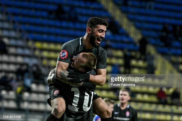 Forward Allahyar Sayyadmaneshshiadeh of FC Zorya Luhansk reacts to scoring during the Ukrainian Premier League Matchday 17 game against PFC Lviv at...