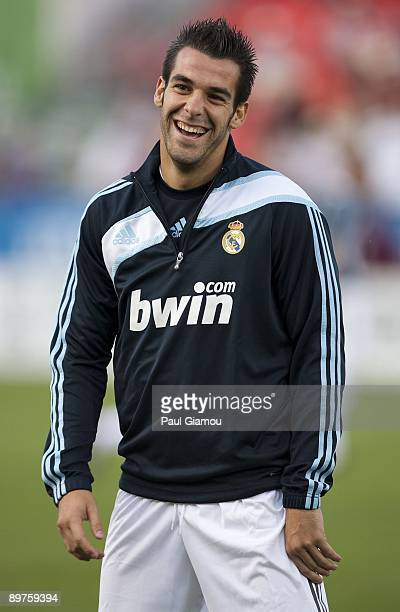 Forward Alvaro Negredo of Real Madrid warms up on the pitch before the friendly match against the Toronto FC at BMO Field on August 7 2009 in Toronto...