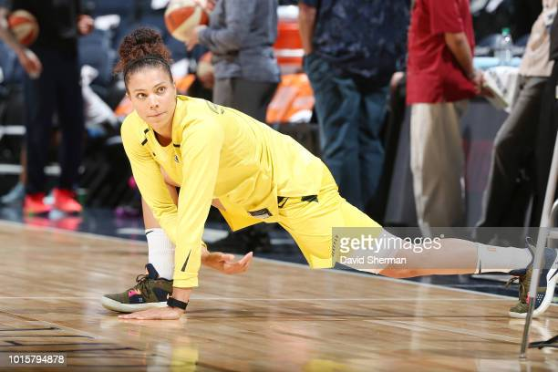 Forward Alysha Clark of the Seattle Storm warmsup before the game against the Minnesota Lynx on August 12 2018 at Target Center in Minneapolis...