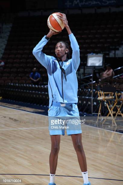 Forward Amber Harris of the Chicago Sky shoots the ball during warmups before the game against the Connecticut Sun on August 12 2018 at the Mohegan...
