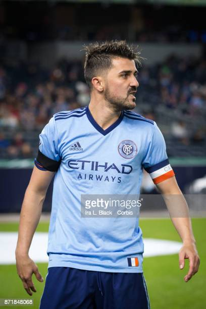 Forward and Captain David Villa reacts to a missed goal during the Audi MLS Eastern Conference Semifinal Leg 2 match between New York City FC vs...