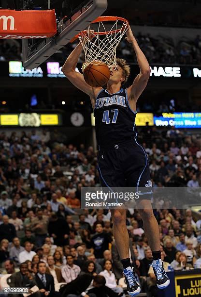 Forward Andrei Kirilenko of the Utah Jazz makes a slam dunk against the Dallas Mavericks on November 3 2009 at American Airlines Center in Dallas...