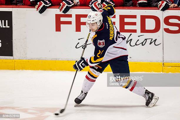 Forward Andrew Mangiapane of the Barrie Colts fires the puck against the Windsor Spitfires on February 25, 2016 at the WFCU Centre in Windsor,...