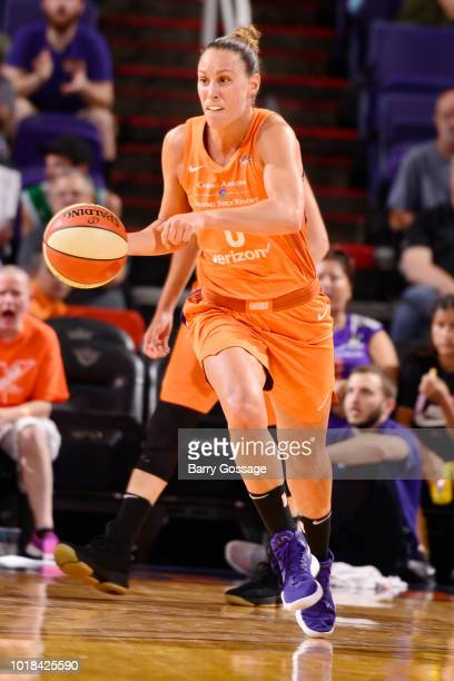 Forward Angel Robinson of the Phoenix Mercury handles the ball during the game against the Atlanta Dream on August 17 2018 at Talking Stick Resort...