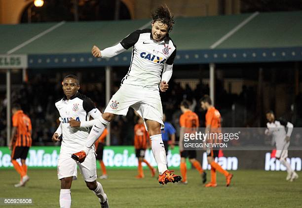 Forward Angel Romero of Brazilian club SC Corinthians celebrates after scoring his second goal of the first half against Ukraine side FC Shakhtar...