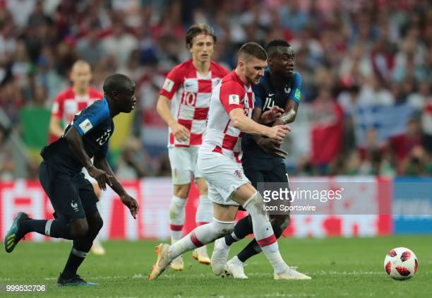 Forward Ante Rebic of Croatia National team in action with midfielder Blaise Matuidi of France National team during the final match between France...