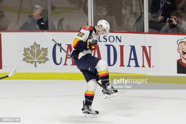 Forward Anthony Cirelli of the Erie Otters celebrates his firstperiod goal against the Saint John Sea Dogs on May 22 2017 during Game 4 of the...