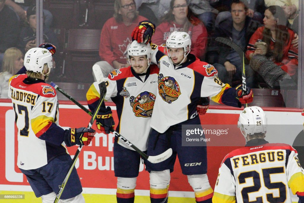 Forward Anthony Cirelli #22 of the Erie Otters celebrates his first-period goal against the Saint John Sea Dogs on May 22, 2017 during Game 4 of the Mastercard Memorial Cup at the WFCU Centre in Windsor, Ontario, Canada.