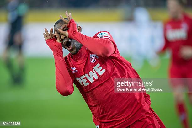 Forward Anthony Modeste of 1.FC Koeln celebrating his goal during the 1. Bundesliga match between Borussia Moenchengladbach and 1. FC Koeln at the...