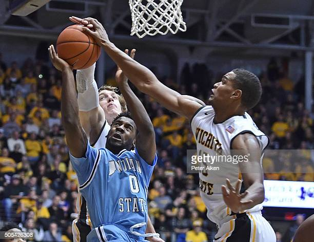 Forward Anton Grady of the Wichita State Shockers blocks the shot of guard Everett Clemons of the Indiana State Sycamores during the second half on...