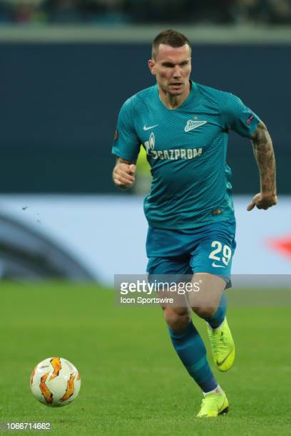 forward Anton Zabolotny of FC Zenit during UEFA Europe League Group Stage Group C match between FC Zenit and FC Copenhagen on November 29 at Saint...