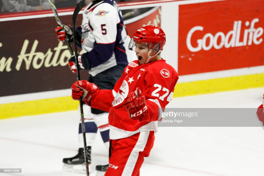 Forward Barrett Hayton #27 of the Sault Ste. Marie Greyhounds celebrates his first period goal against the Windsor Spitfires on October 5, 2017 at the WFCU Centre in Windsor, Ontario, Canada.