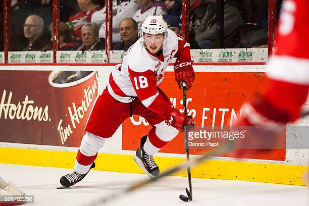 Forward Blake Speers of the Sault Ste Marie Greyhounds moves the puck against the Windsor Spitfires on February 18 2016 at the WFCU Centre in Windsor...