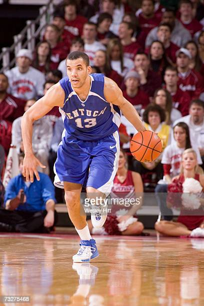 Forward Bobby Perry of the Kentucky Wildcats brings the ball down the court against the Arkansas Razorbacks at Bud Walton Arena on February 3, 2007...