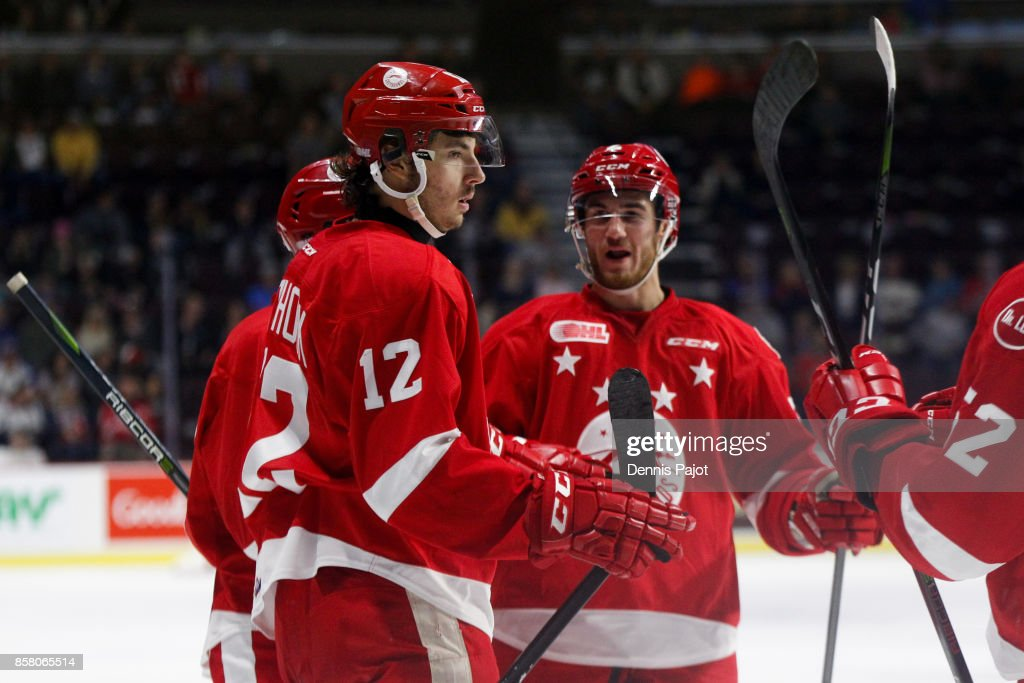 Forward Boris Katchouk #12 of the Sault Ste. Marie Greyhounds celebrates his third period against the Windsor Spitfires on October 5, 2017 at the WFCU Centre in Windsor, Ontario, Canada.