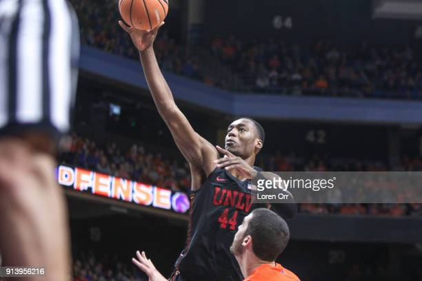 Forward Brandon McCoy of the UNLV Rebels puts up a two point shot during first half action against the Boise State Broncos on February 03 2018 at...