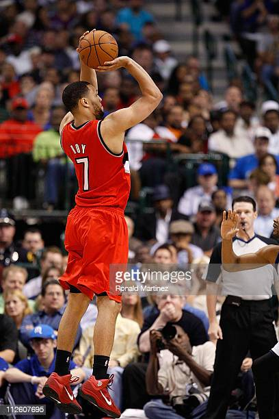 Forward Brandon Roy of the Portland Trail Blazers takes a shot against the Dallas Mavericks in Game Two of the Western Conference Quarterfinals...