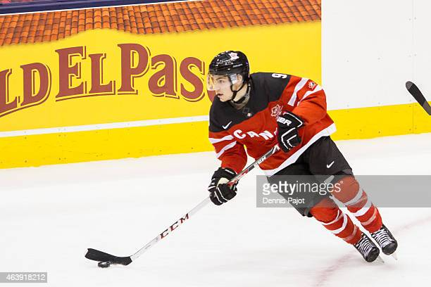 Forward Brayden Point of Canada moves the puck against Slovakia during the 2015 IIHF World Junior Championship on January 04 2015 at the Air Canada...